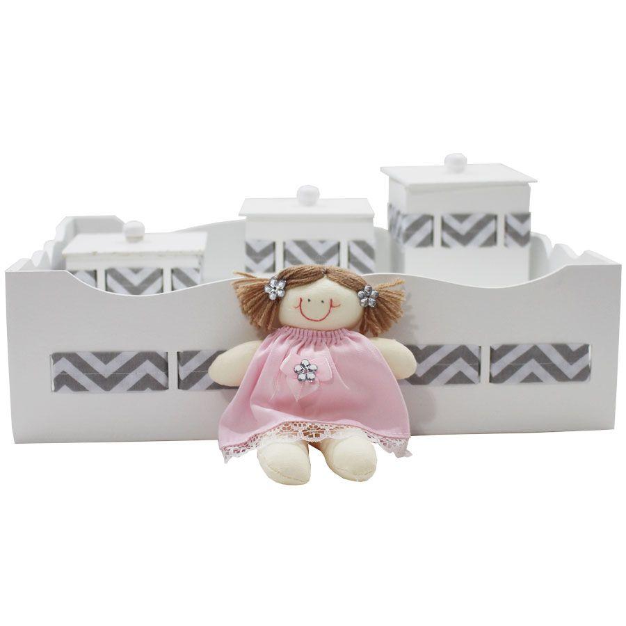 Kit Higiene do Bebê - Boneca Chevron Rosa