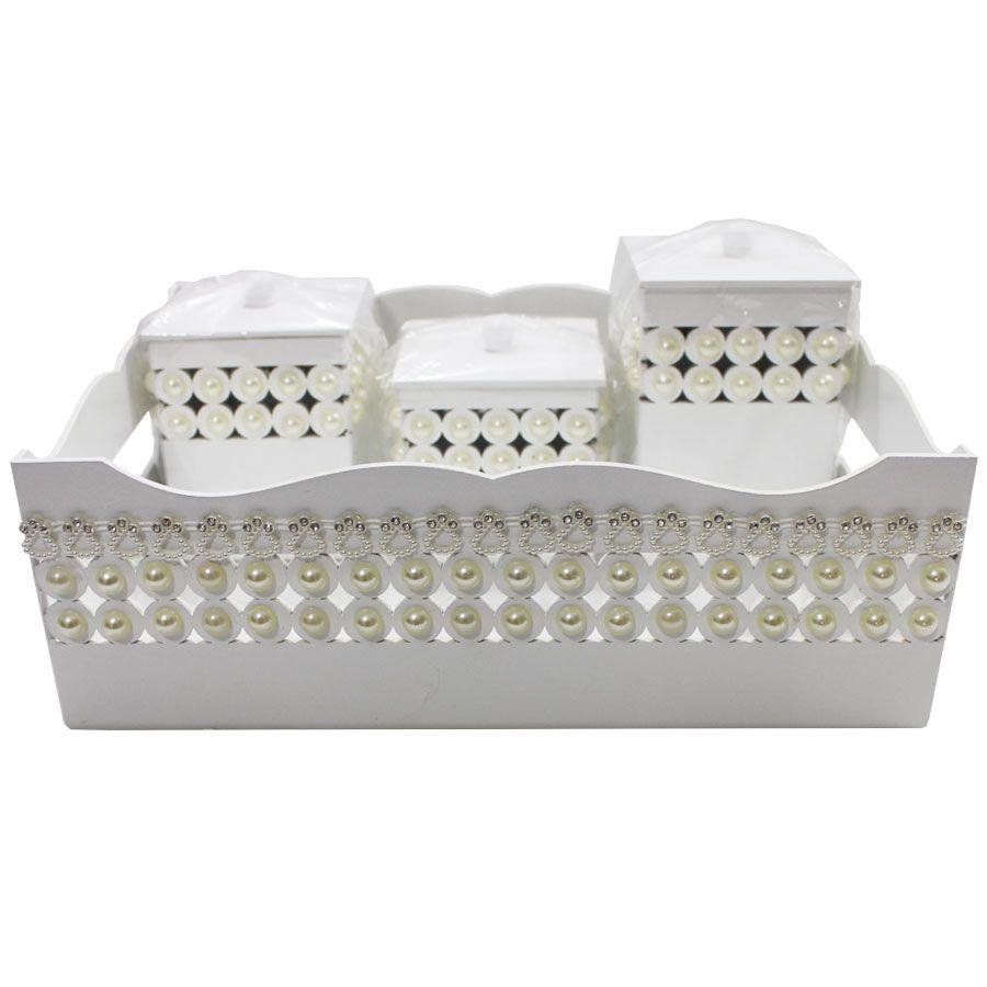 Kit Higiene do Bebê - Branco Pérola