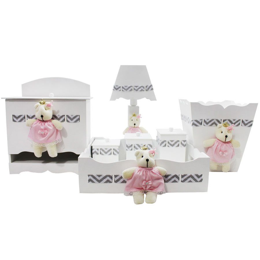 Kit Higiene do Bebê - Chevron Rosa