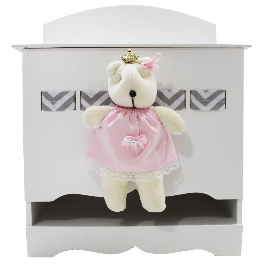 Kit Higiene do Bebê - Ursa Chevron Rosa