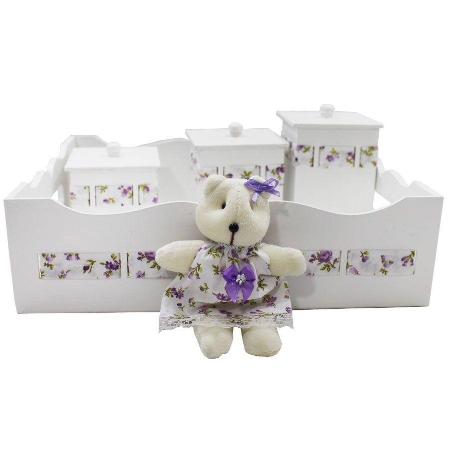 Kit Higiene do Bebê - Ursa Floral Lilás