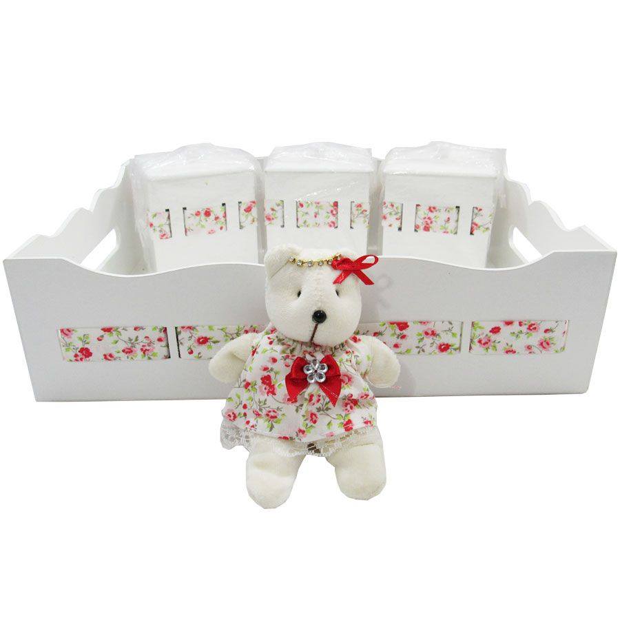 Kit Higiene do Bebê - Ursa Floral Vermelho