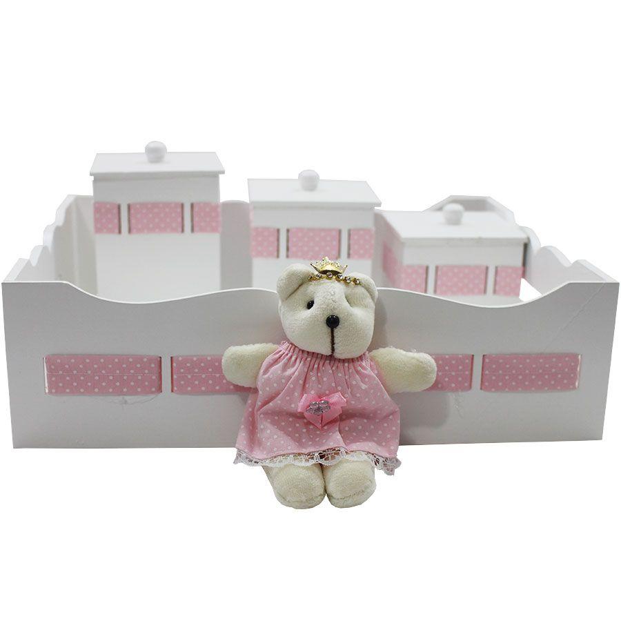 Kit Higiene do Bebê - Ursa Poá Branco