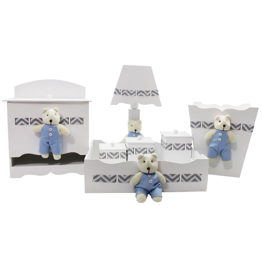 Kit Higiene do Bebê - Urso Chevron Azul