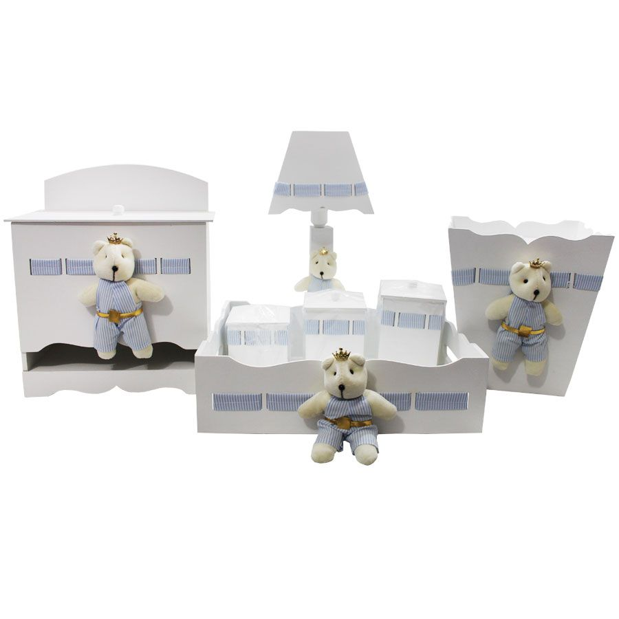 Kit Higiene do Bebê - Urso Listra Azul