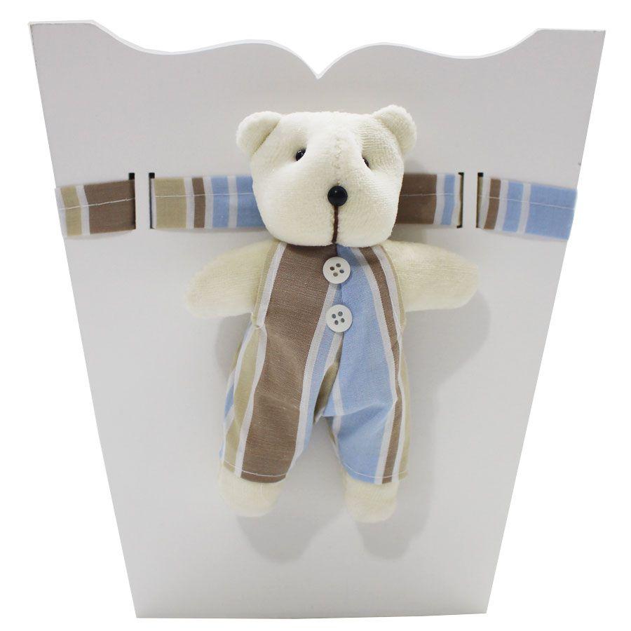 Kit Higiene do Bebê - Urso Listra Azul e Bege