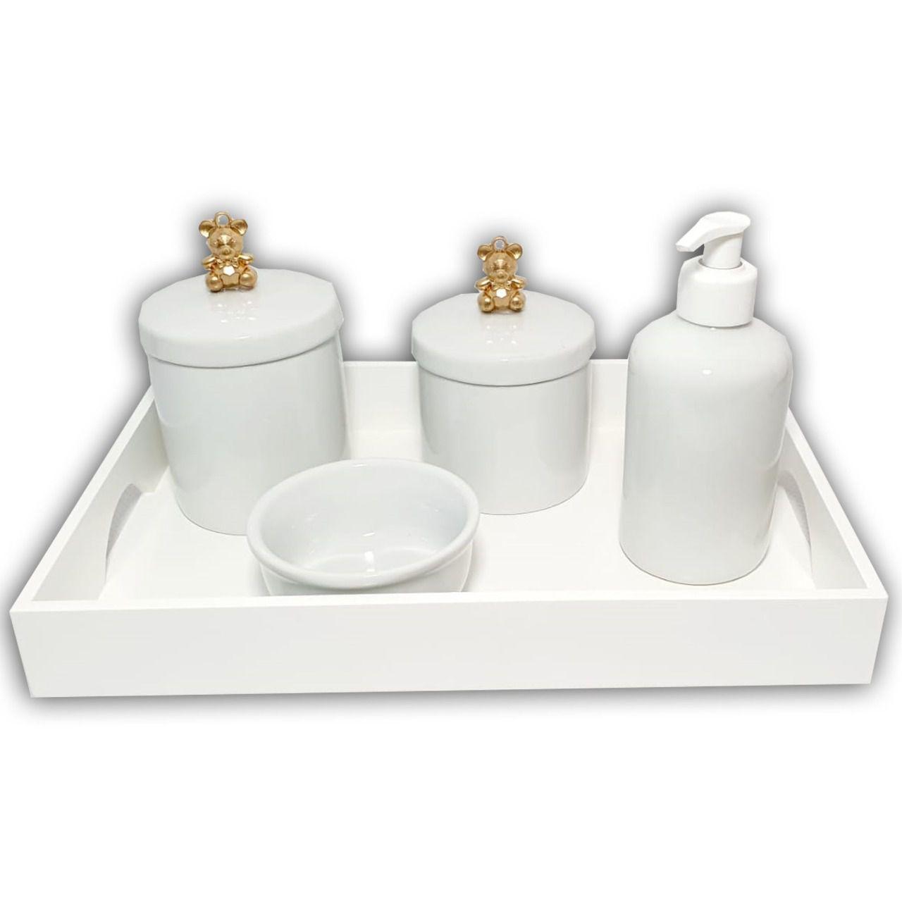 Kit Higiene Porcelana Urso Dourado  Bandeja 3 Potes Álcool-gel + Decoração Quarto De Bebê Infantil