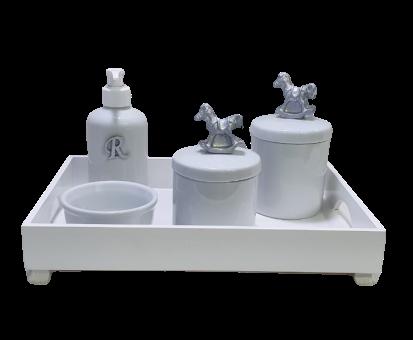 Kit Higiene Bebe 5 Peças  Porcelana Cavalinho Prata