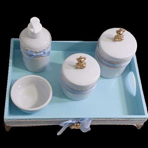 Kit Higiene Porcelana Fita Azul Urso Dourado Bandeja Decoração Quarto De Bebê Infantil