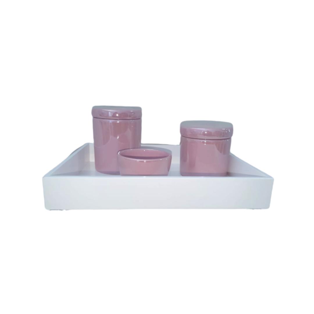 Kit Higiene Porcelana Rosa bebê 3 Peças + Bandeja - Decoração Quarto De Bebê