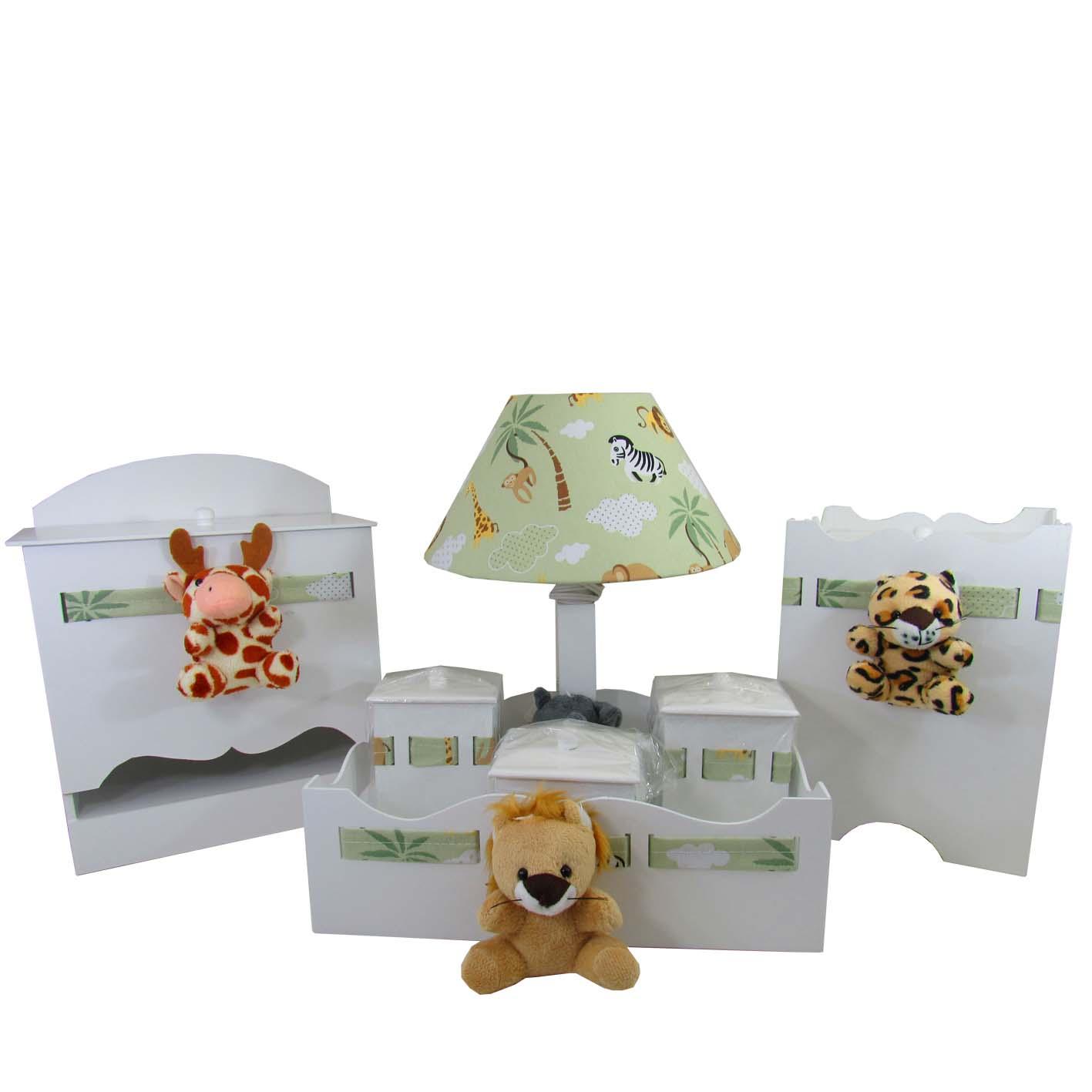 Kit Higiene Bebê Safari Bichos  MDF 7 Peças