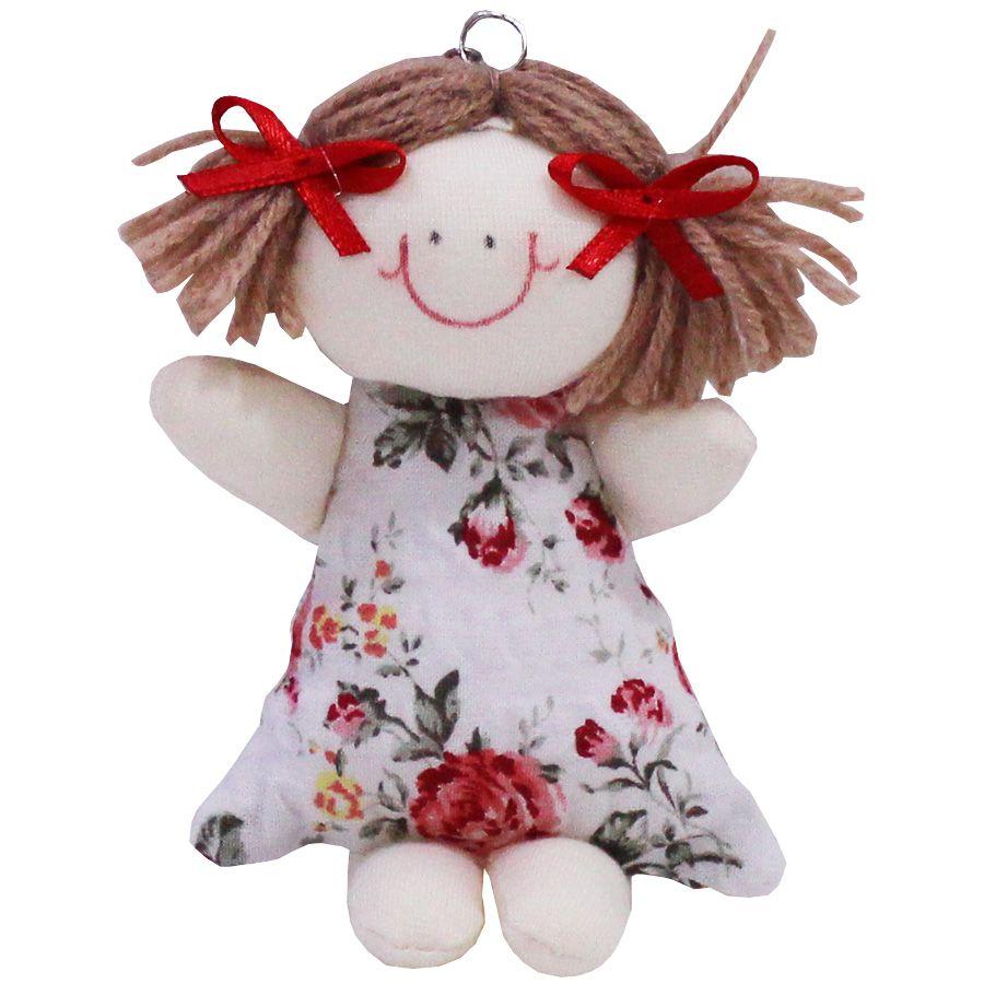 Lembrancinha Boneca Fofinha Chaveiro - Floral Vermelho