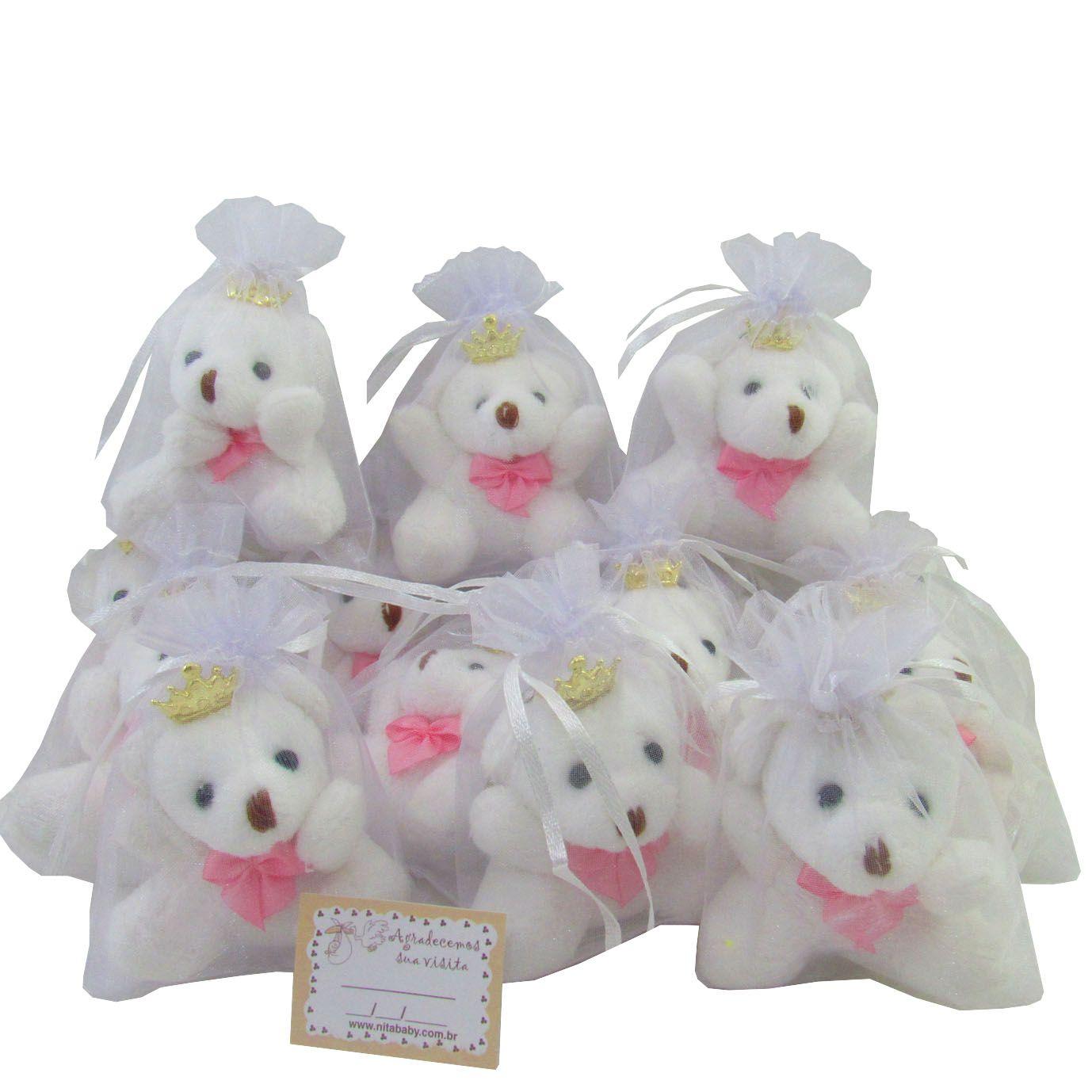 Lembrancinha Chaveiro Ursa - Branca com Laço Rosa e Acompanha Organza.