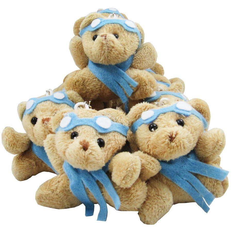 Lembrancinha Chaveiro Urso Aviador - Azul