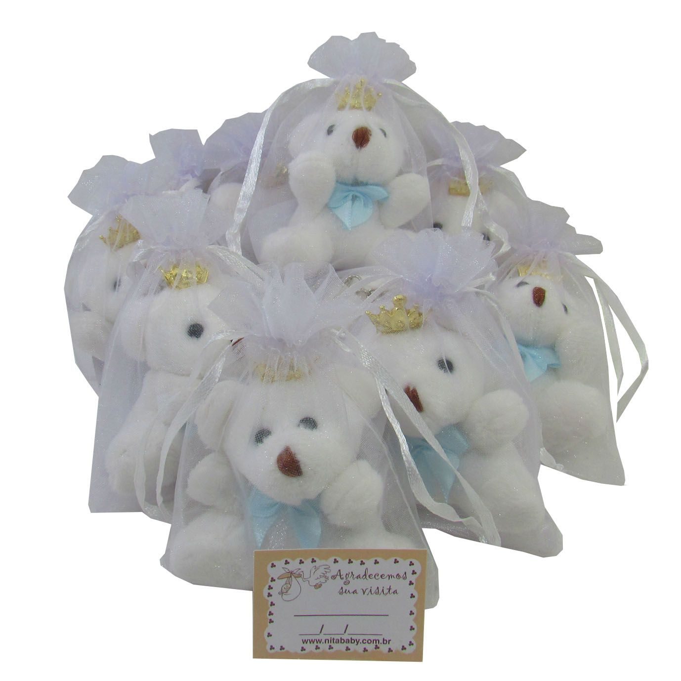 Lembrancinha Chaveiro Urso - Branco com Laço Azul Claro e Acompanha Organza