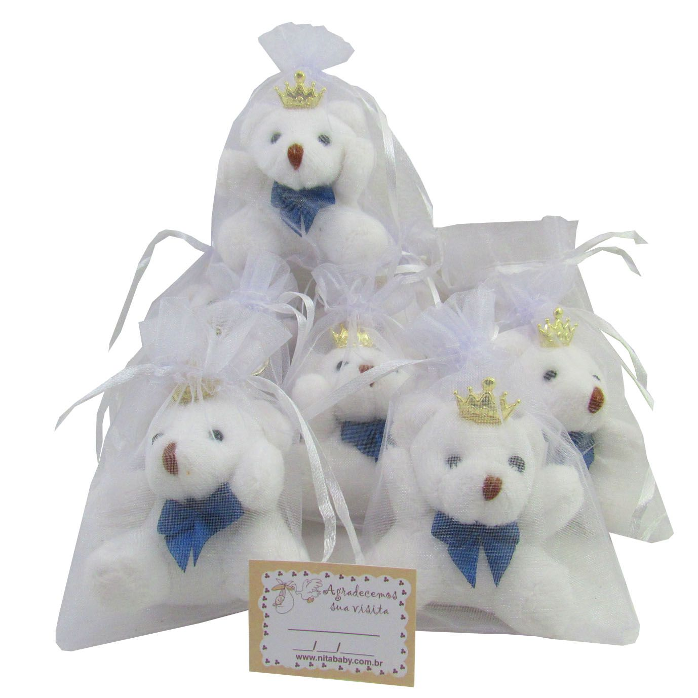 Lembrancinha Chaveiro Urso - Branco com Laço Azul Marinho e Acompanha Organza