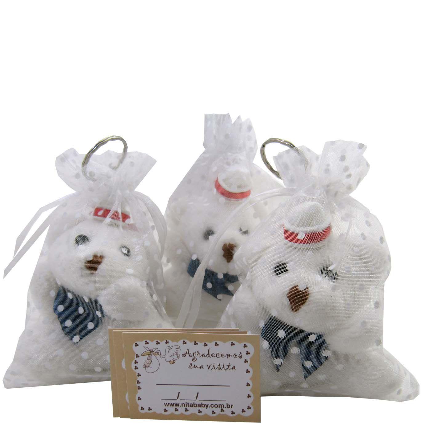 Lembrancinha Chaveiro Urso Branco na Organza - Marinheiro
