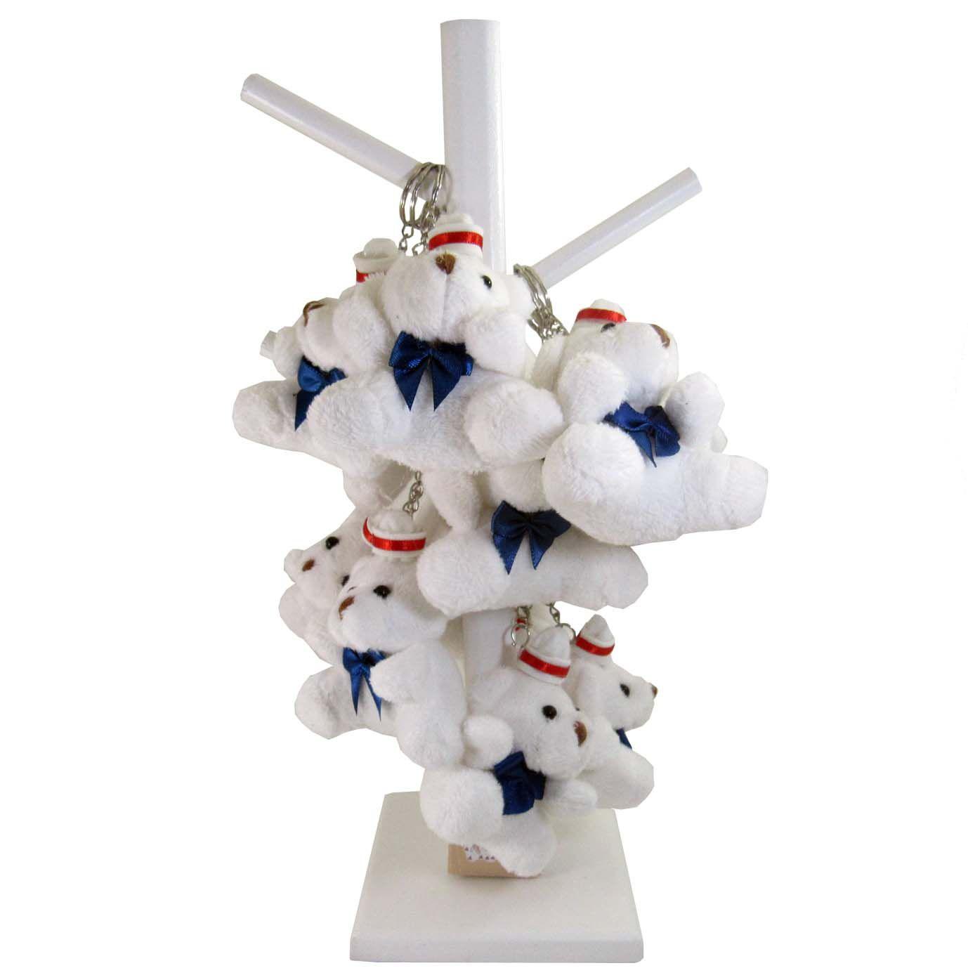 Lembrancinha Chaveiro Urso Branco no Cabide- Marinheiro