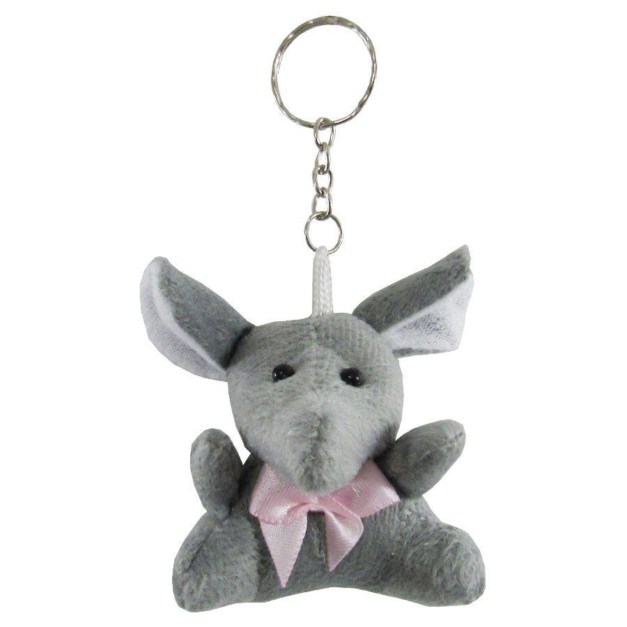 Lembrancinha Elefante Chaveiro - Laço Rosa