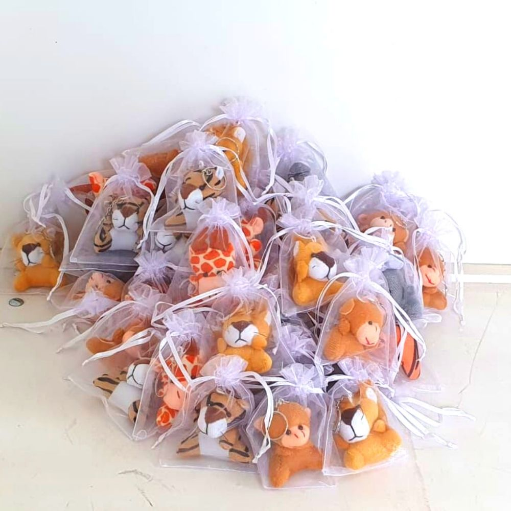 Lembrancinha Maternidade  Bichos Safari Chaveiro  Embalado Na Organza 70 peças
