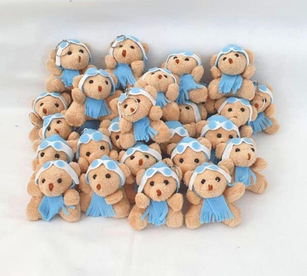 Lembrancinha maternidade urso chaveiro aviador azul menino