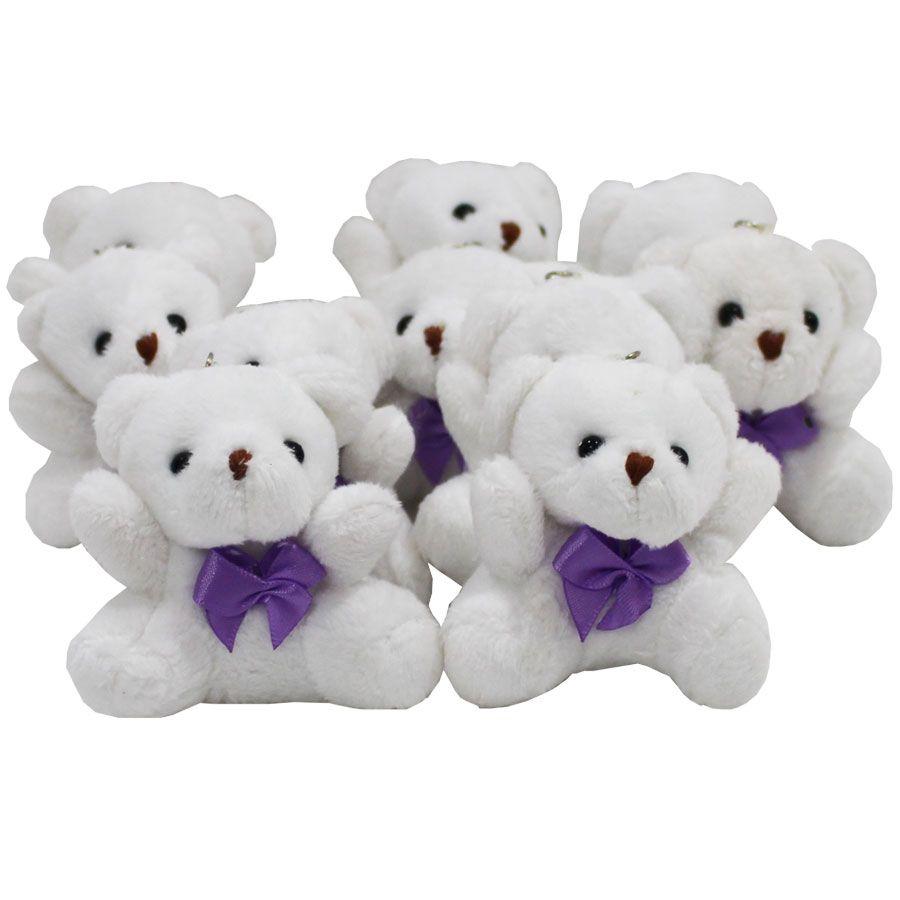 Lembrancinha Ursa Chaveiro - Branca Com Laço Lilás
