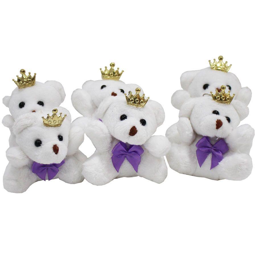 Lembrancinha Ursa Chaveiro - Branca Com Laço Lilás e Coroa