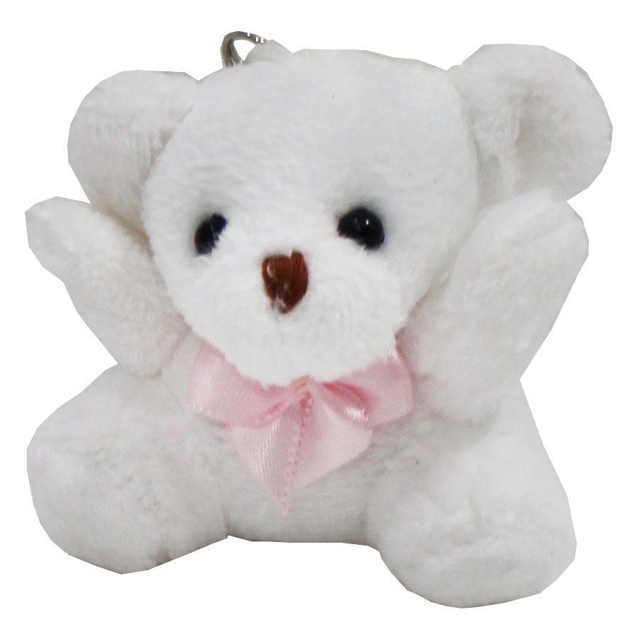 Lembrancinha Ursa Chaveiro - Branca Com Laço Rosa
