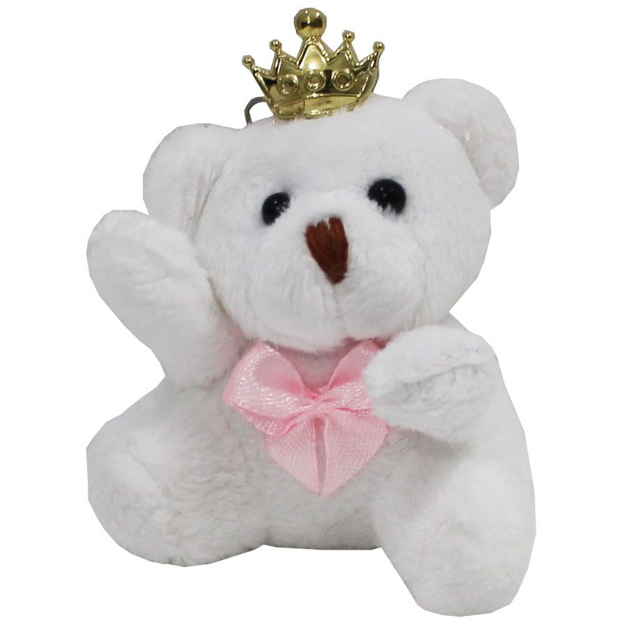 Lembrancinha Ursa Chaveiro - Branca Com Laço Rosa e Coroa