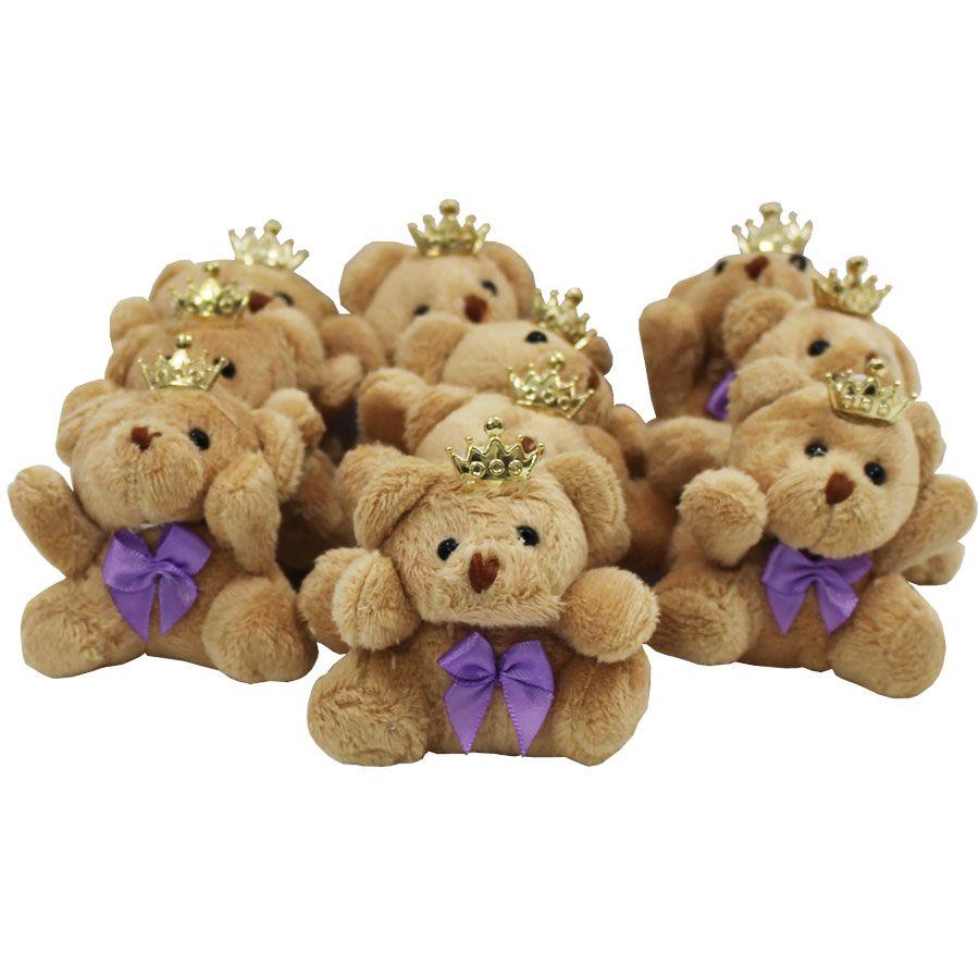 Lembrancinha Ursa Chaveiro - Com Laço Lilás e Coroa