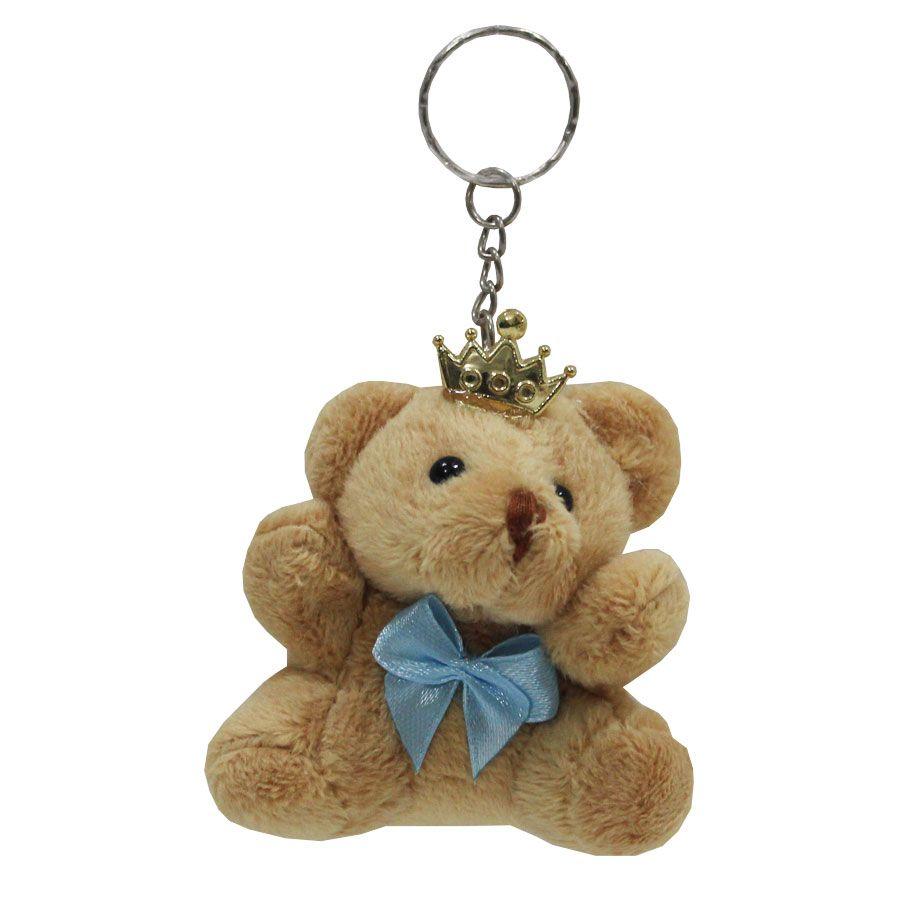 Lembrancinha Urso Chaveiro - Com Laço Azul Bebê e Coroa