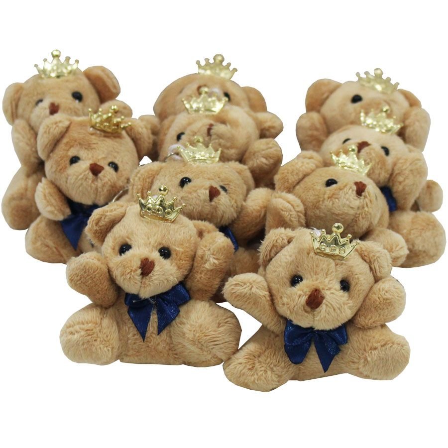 Lembrancinha Urso Chaveiro - Com Laço Azul Marinho e Coroa