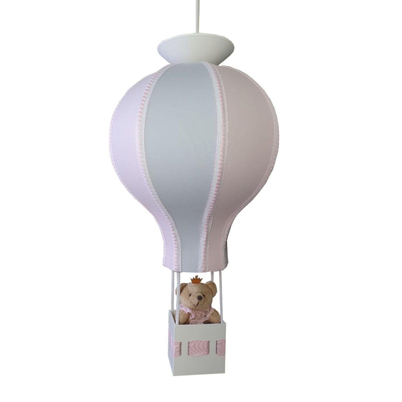 Luminária Balão de Teto  - Cinza com rosa ou azul