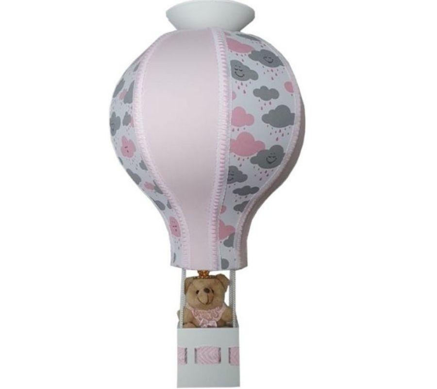 Luminária de teto balão nuvem rosa decoração quarto bebê infantil
