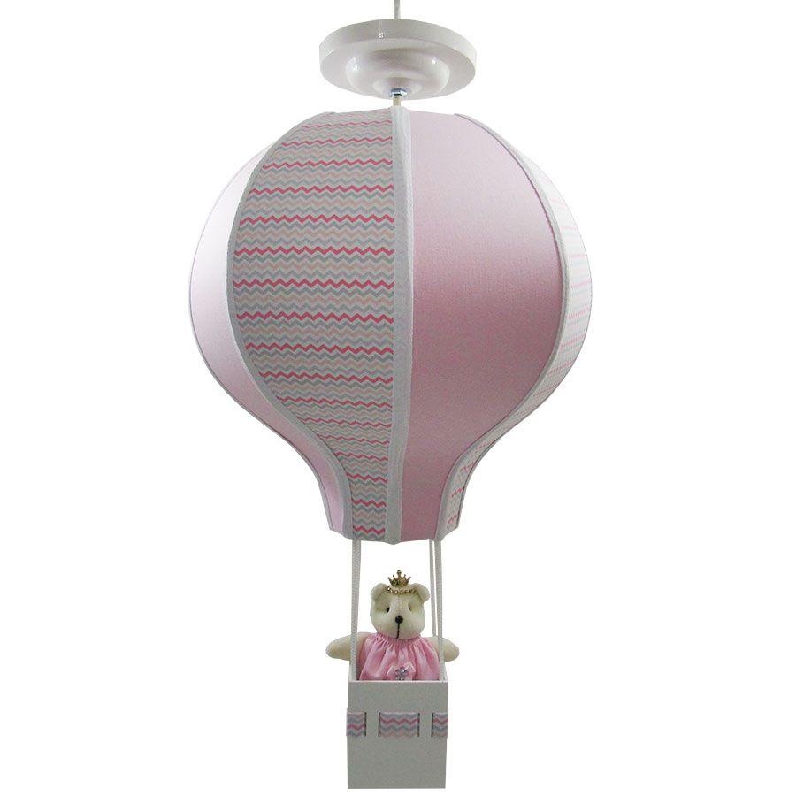Luminária De Teto Balão - Decoração Quarto Bebê  Chevron Rosa  - NitaBaby