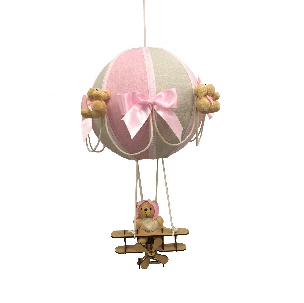 Luminária Lustre De Teto Bola Rosa Com Avião Decoração Quarto de Bebê