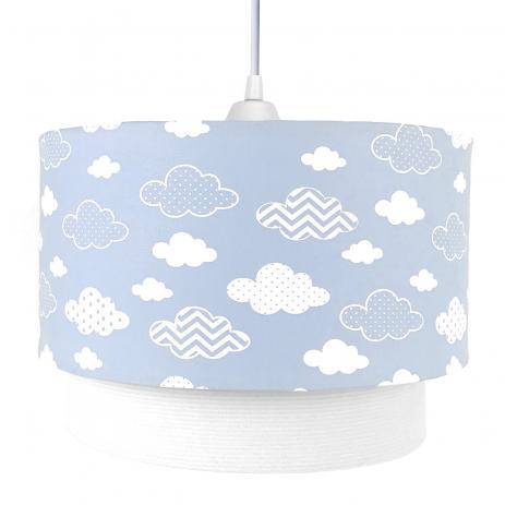 Luminária Lustre pendente  de Teto Duplo Nuvem Azul Decoração Quarto Bebê Infantil