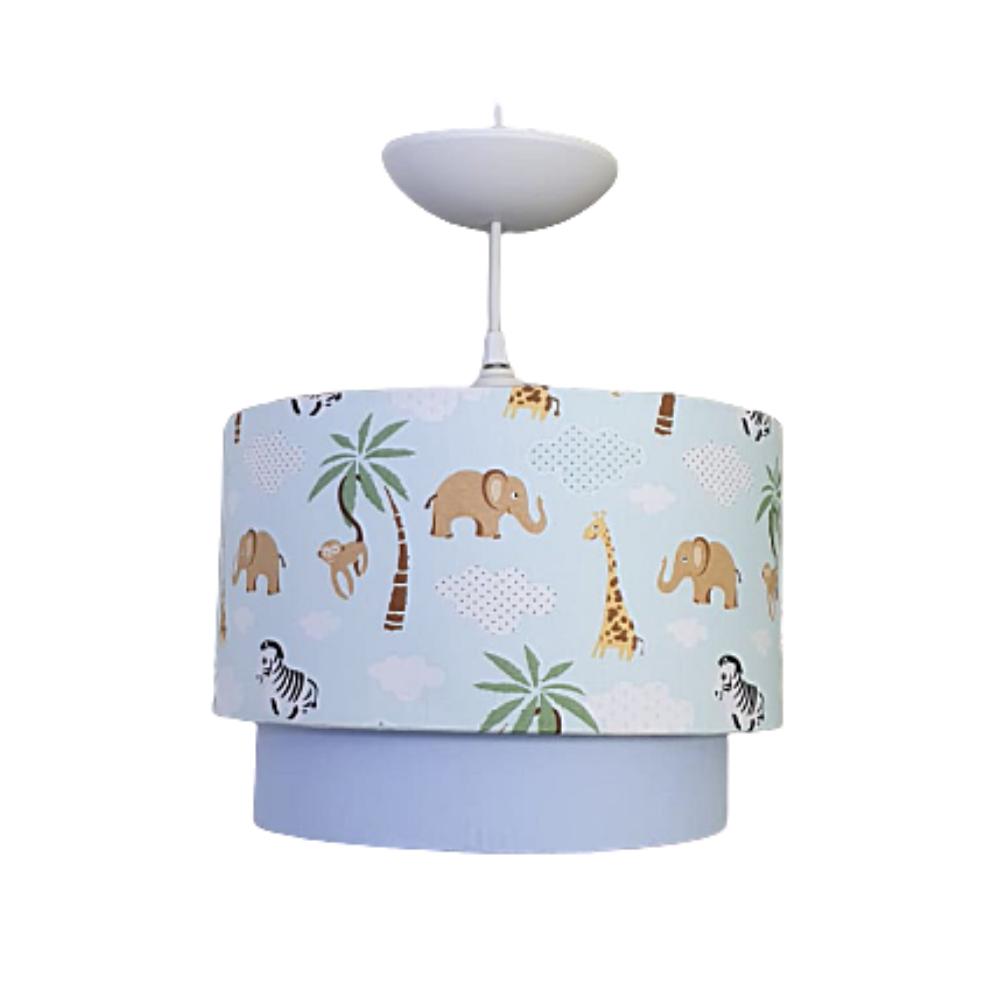 Luminária tubular  de Teto tecido  Safari azul