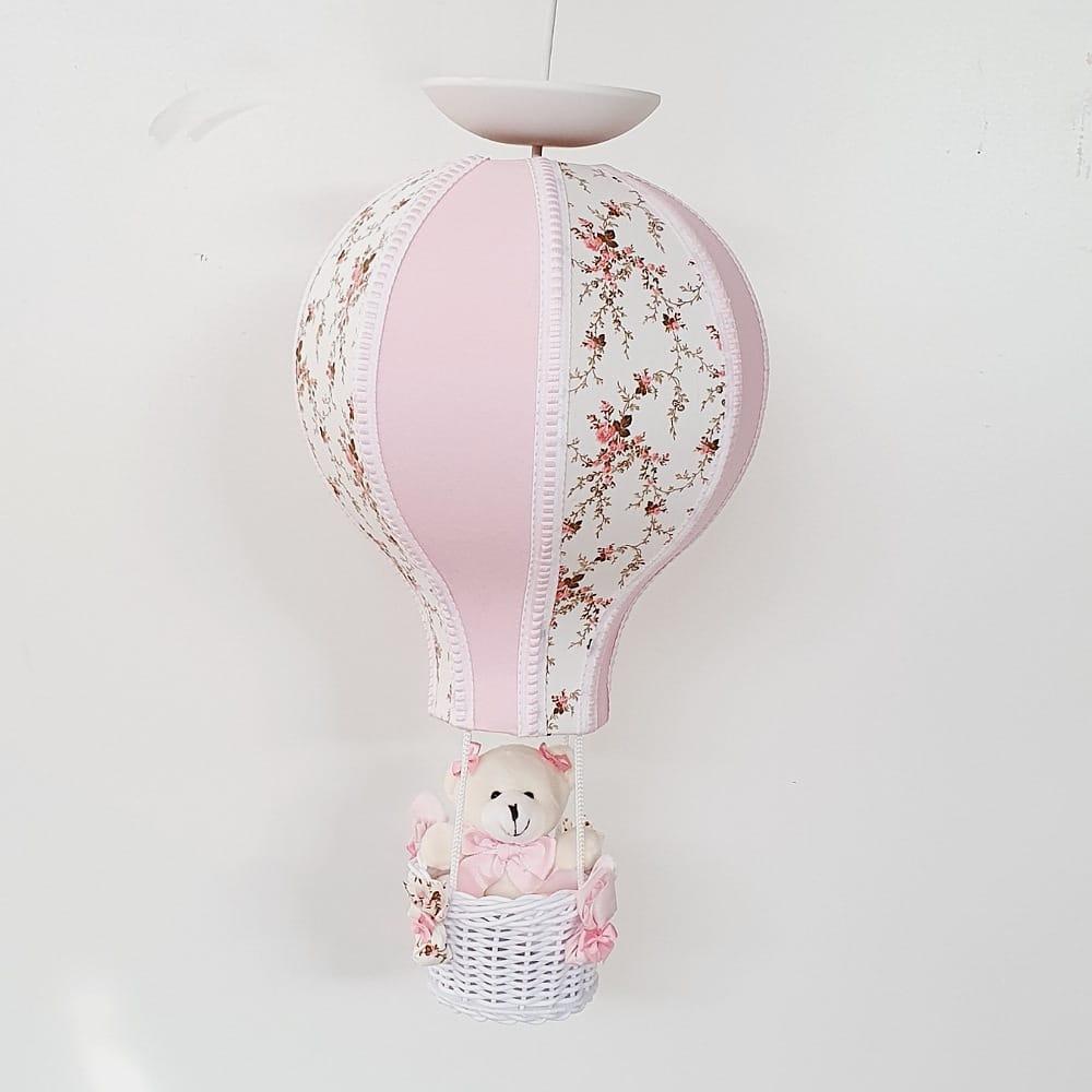 Lustre Bebê De Teto Balão Floral Com Rosa