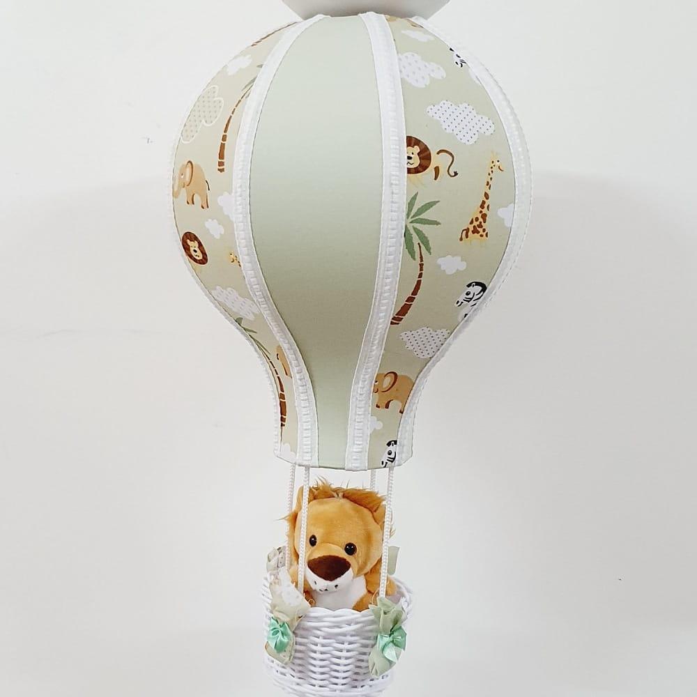 Lustre Bebê  De Teto Balão Tecido Safari Com Bichos