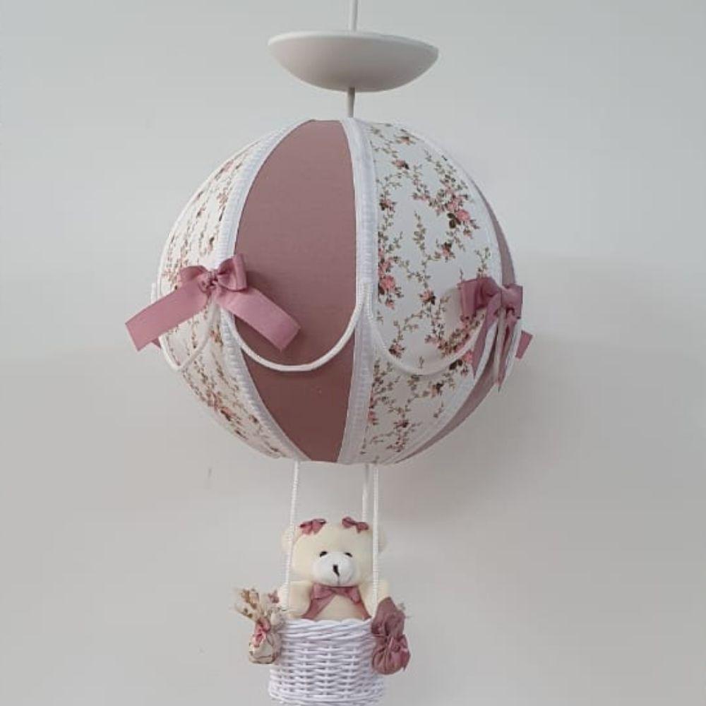 Lustre Bebê De Teto Bola Floral Com Rosa Cha Com Urso Na Cesta