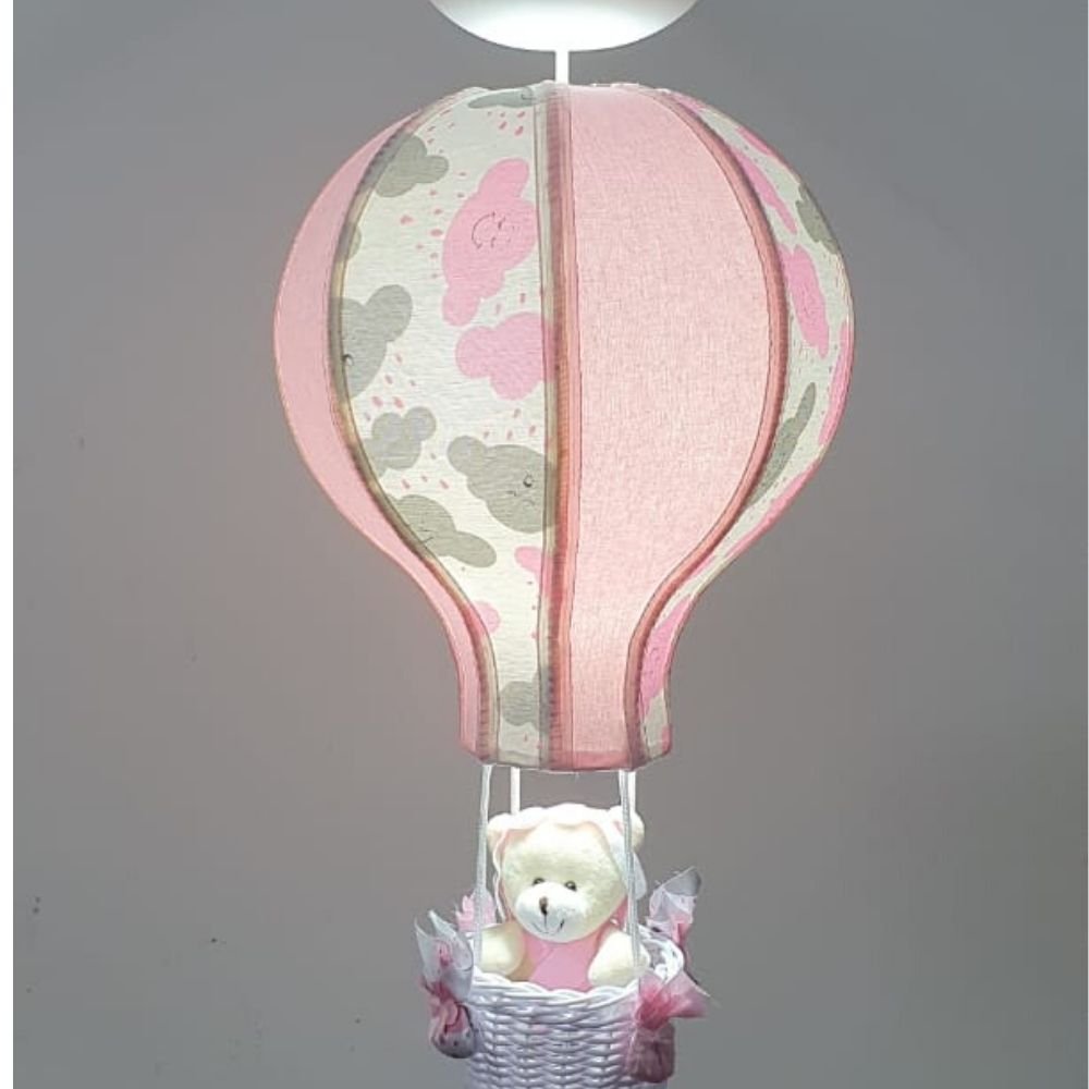 Lustre Bebê  Teto Balão Tecido Nuvem Rosa Quarto  Menina