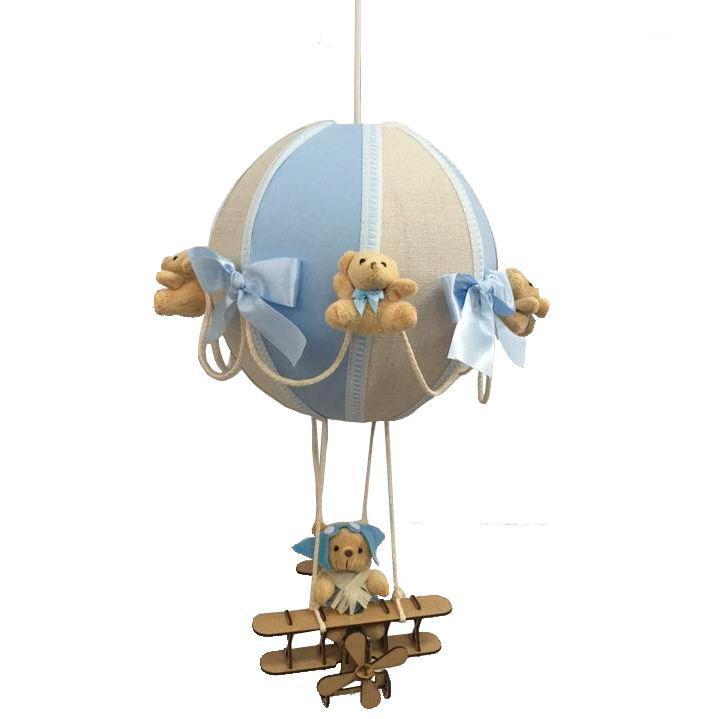 Luminária Lustre De Teto Bola Azula Com Avião Decoração Quarto de Bebê