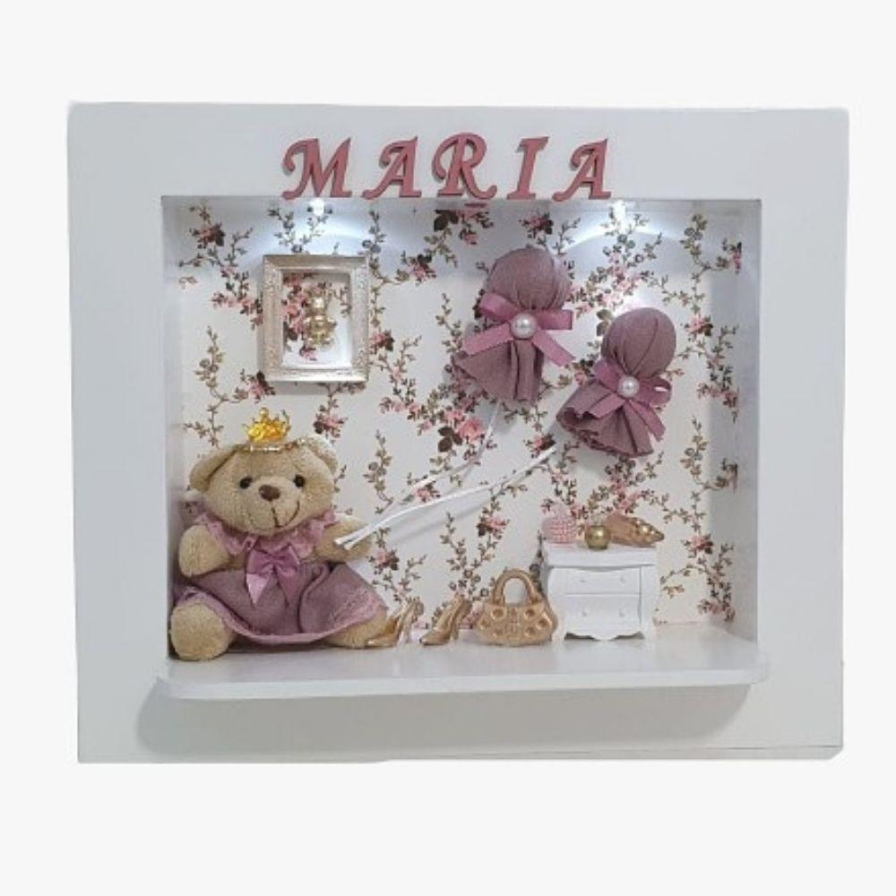 Quadro Bebê Maternidade ursa Floral  Com  Nome  Decoração Menina