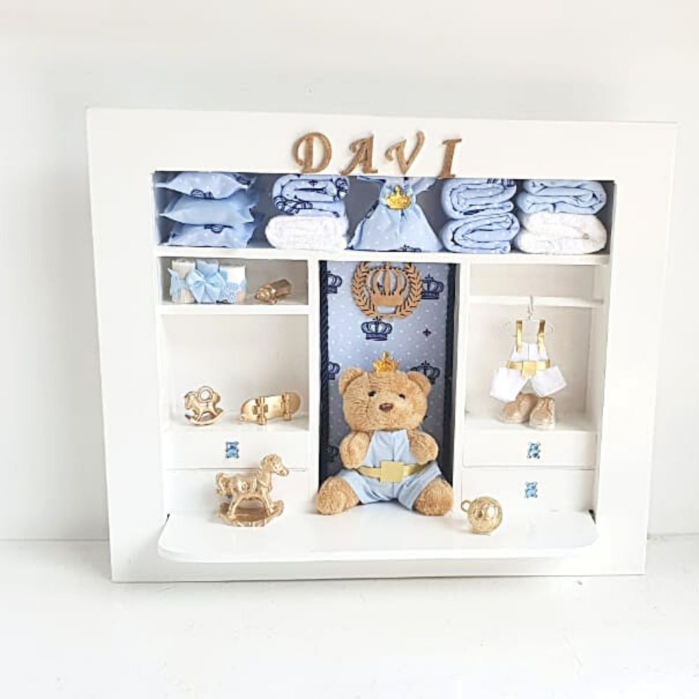 Quadro  Maternidade Closet  Personalizado Nome Do Bebê  Príncipe Azul Claro Urso