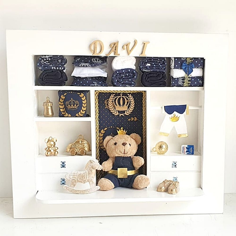 Quadro  Maternidade Closet  Personalizado Nome Do Bebê  Príncipe Azul Marinho Urso