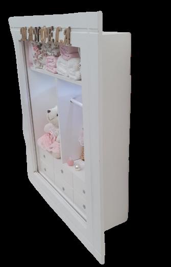 Quadro Maternidade Closet  Provençal Escuro com nome  decoração bebê - nitababy