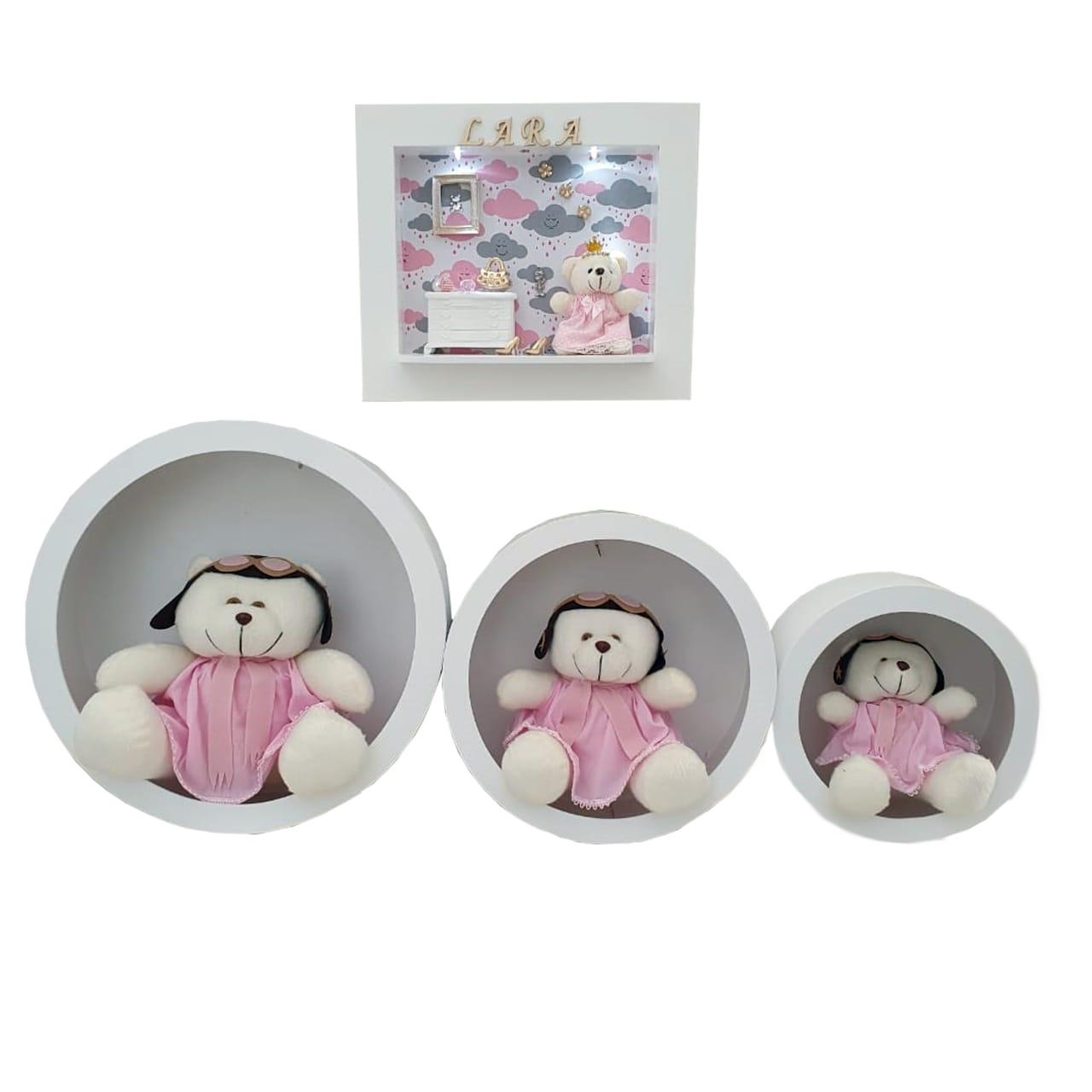 Quadro Maternidade Com Nome e Nicho com Ursa Aviadora - Combo Decoração Quarto de Bebê Infantil