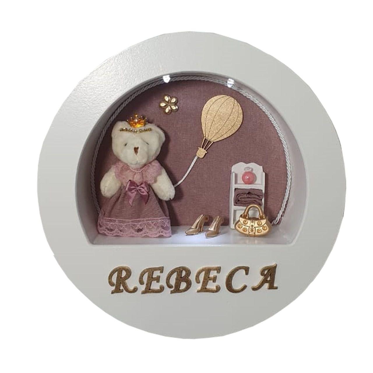 Enfeite maternidade redondo ursa  tecido rosa cha  com nome do bebê