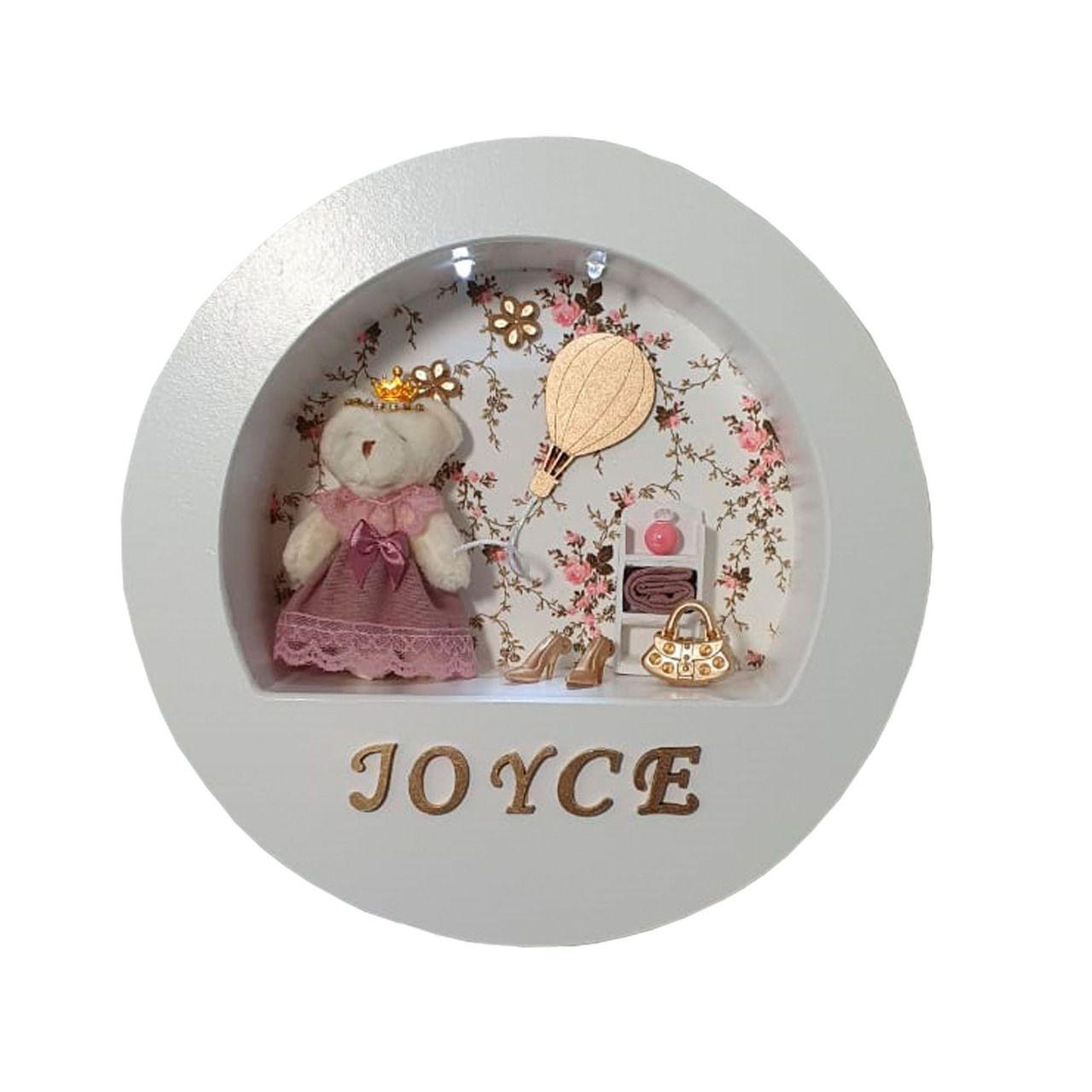 Quadro maternidade redondo  tecido floral ursa com nome da bebê